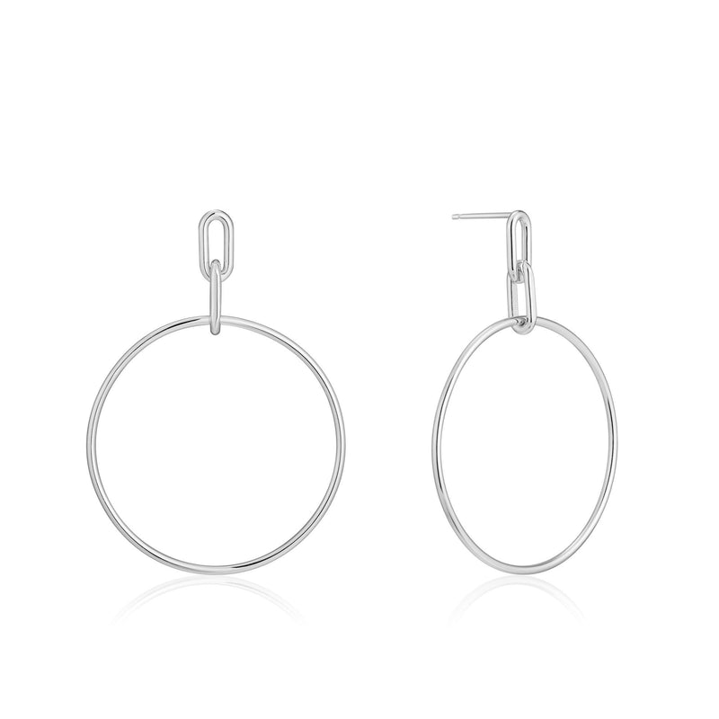 Cable Link Hoop Earrings, Silver