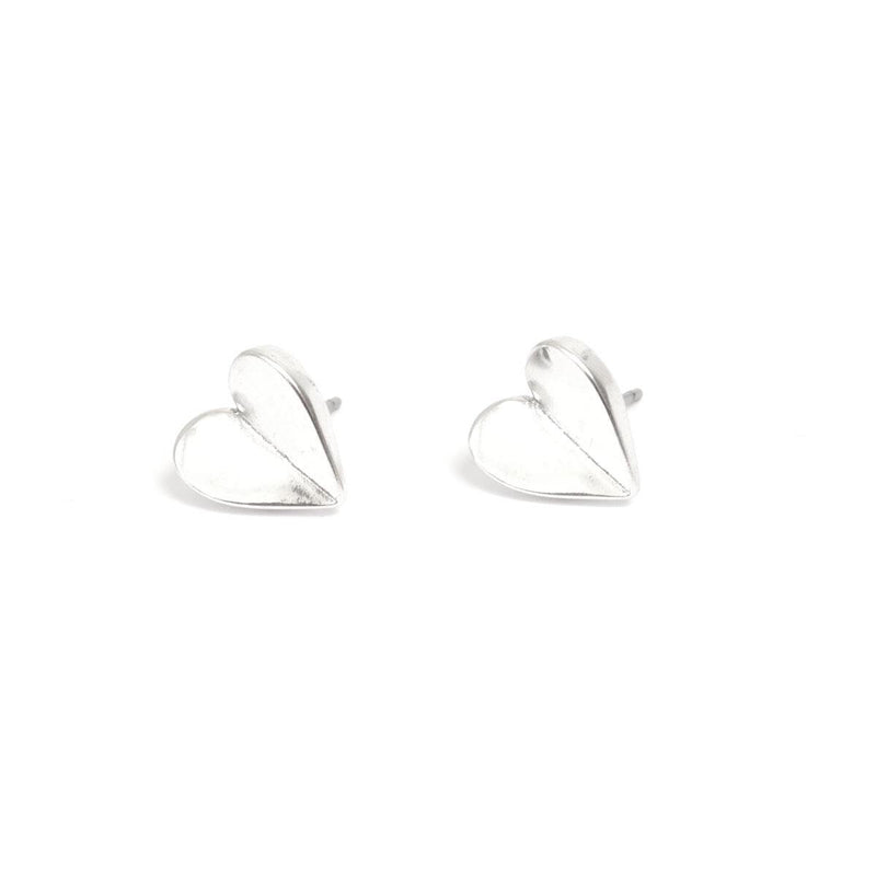 Angled Heart Silver Earring