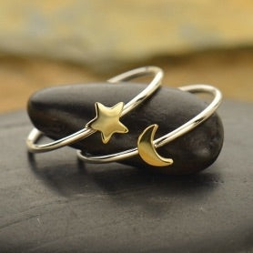 Tiny Bronze Moon and Star Ring Set
