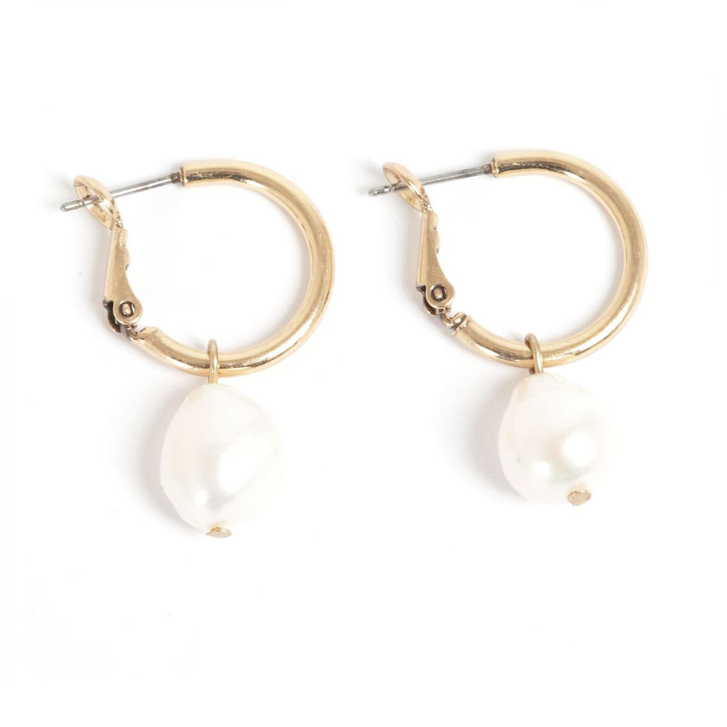 Hoop Bronze Earrings with Baroque Pearl