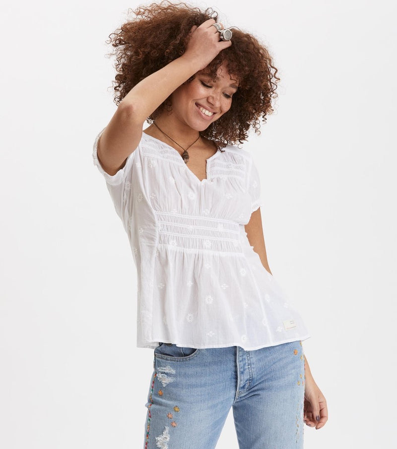 Facile Flower Bright White Blouse