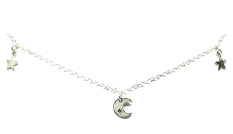 Moon and Star  Moon and Star Chain Choker