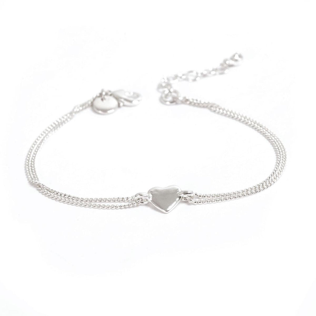 Heart Silver Bracelet with Double Chain