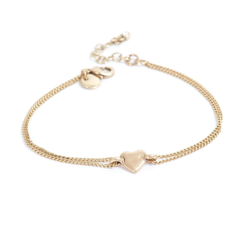 Heart Bronze Bracelet with Double Chain