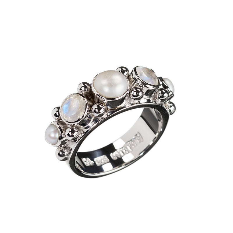 Sweetheart Freshwater Pearl and Moonstone Ring