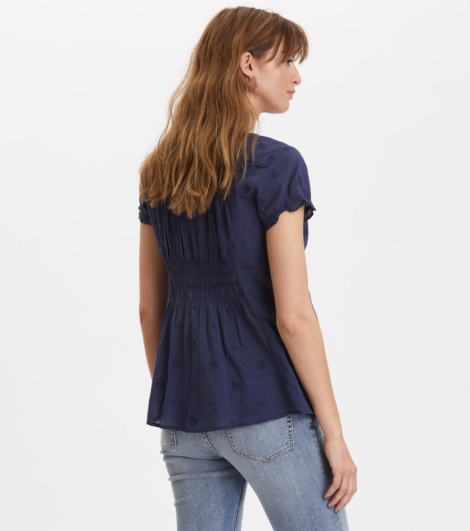 Facile Flower Dark Blue Blouse