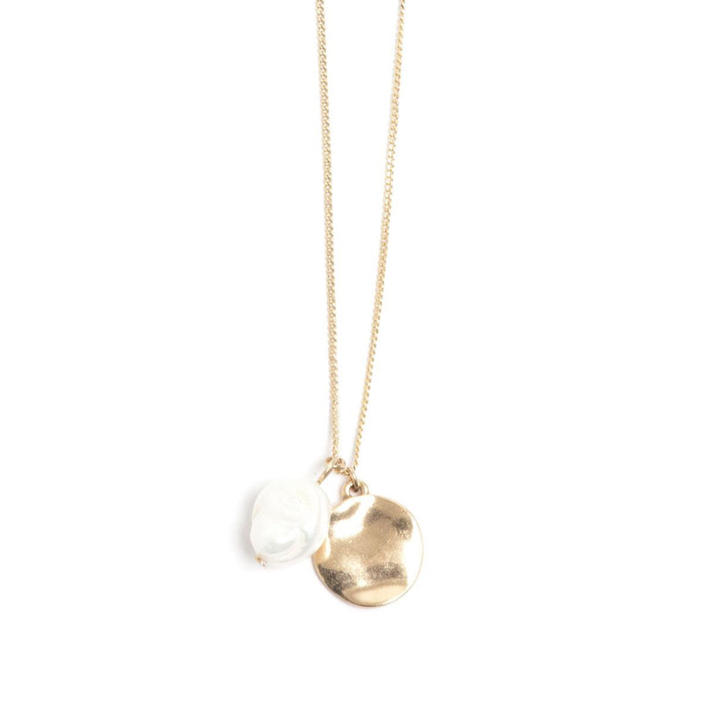 Coin Bronze Necklace with Baroque Pearl