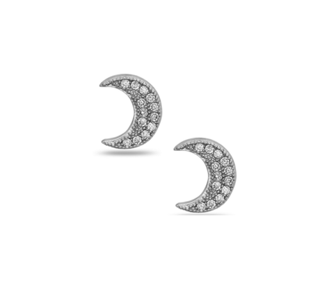 Crystal Crescent Moon Stud Earring