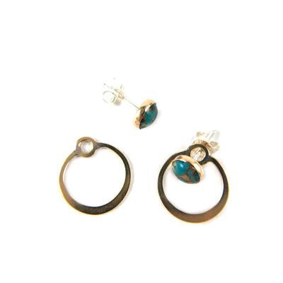 Circle Turquoise Jacket Earrings