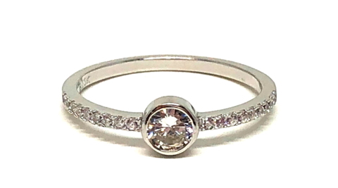 CZ Bezel with Eternity Band Ring