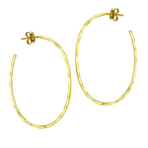 Gold Plated Hammered Oval Hoop Post Earrings - Large