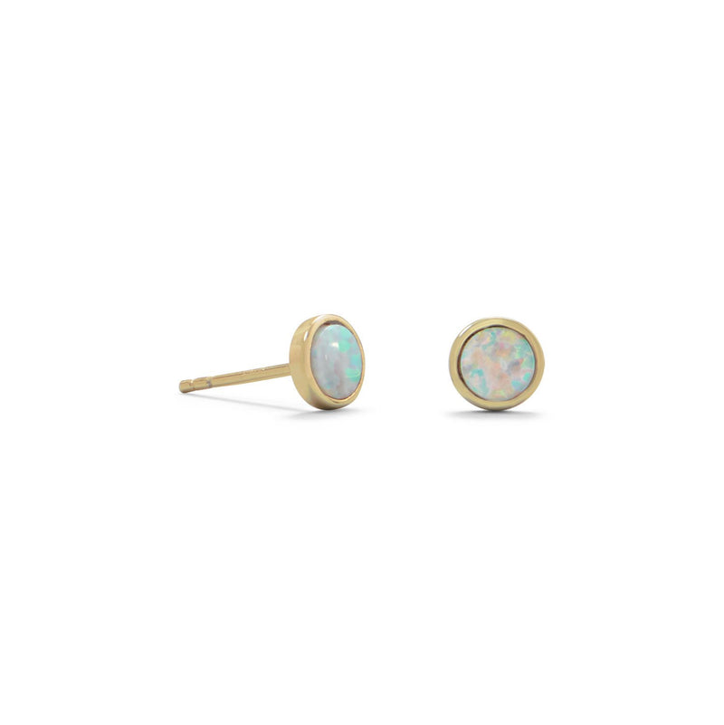 White Opal Post Earrings