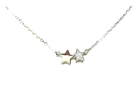 Double Star Sterling Silver Necklace