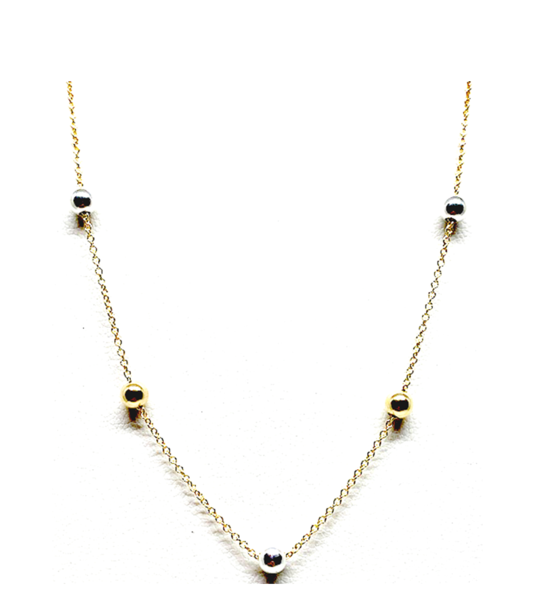 5 Bead Gold Necklace