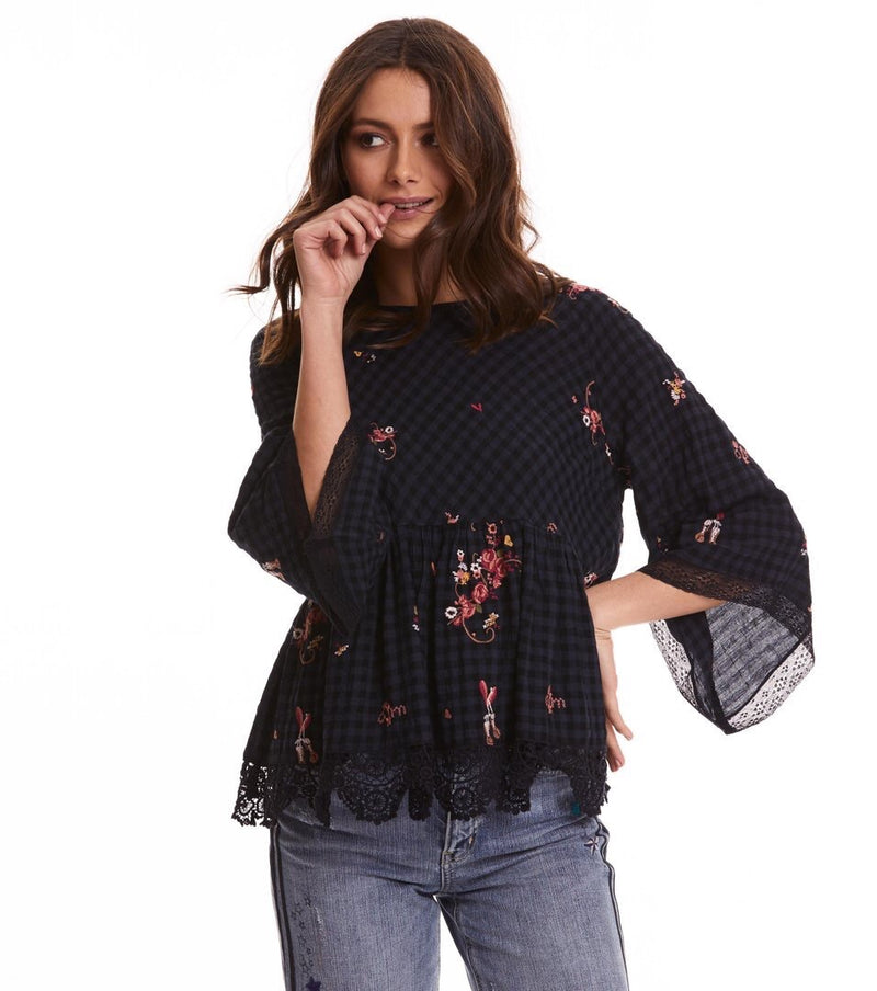 Embroidered French Navy Space Roses Blouse