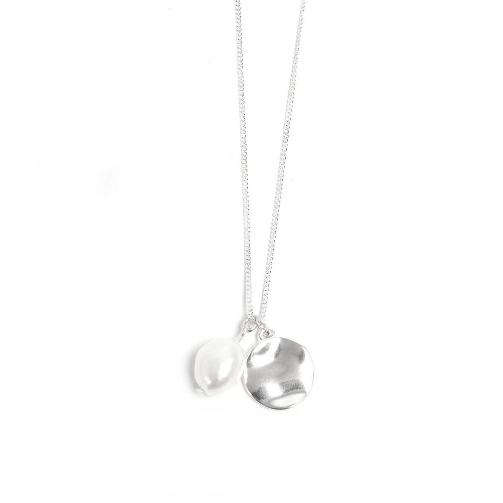 Coin Silver Necklace with Baroque Pearl