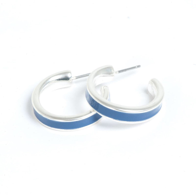 Color Accent Silver Hoop Earrings
