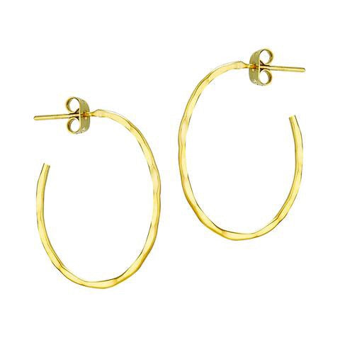 Plata Gold Plated Hammered Oval Hoop - Small