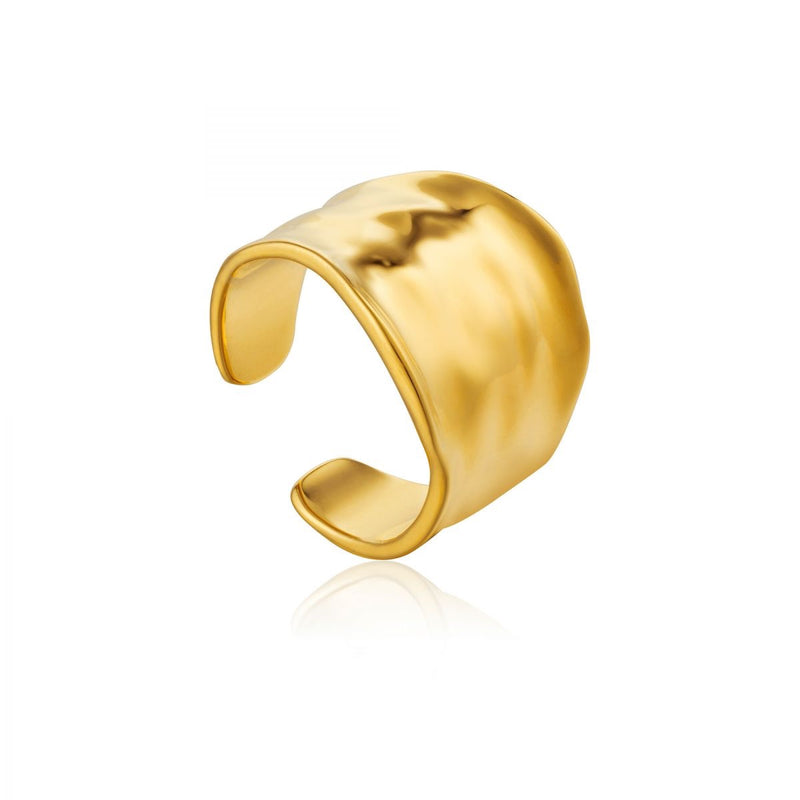 Crush Gold Wide Adjustable Ring