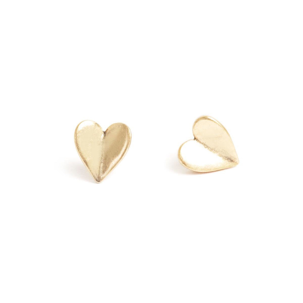 Angled Heart Bronze Earrings