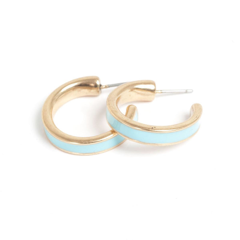 Color Accent Bronze Hoop Earrings