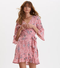 Lush Shake Blush Pink Wrap Dress