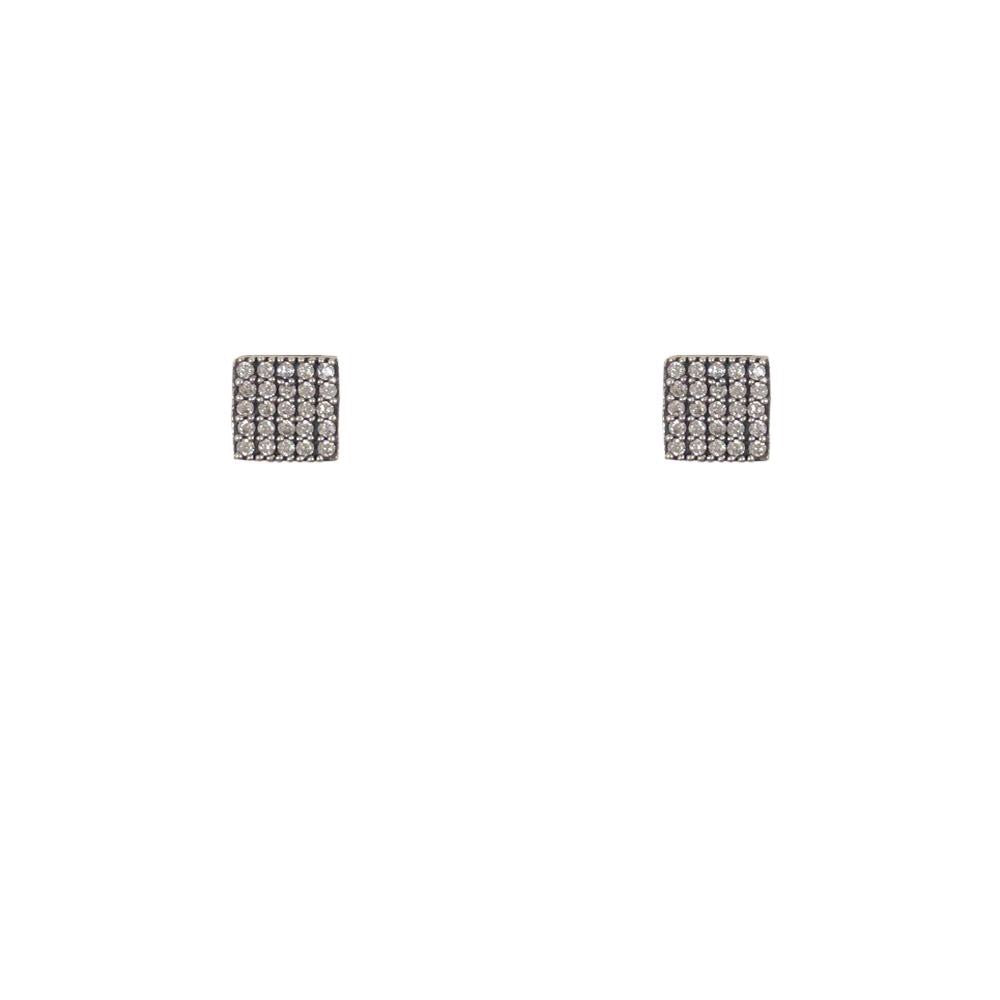 Vintage Silver Artís Pavé Crystal Square Stud Earrings