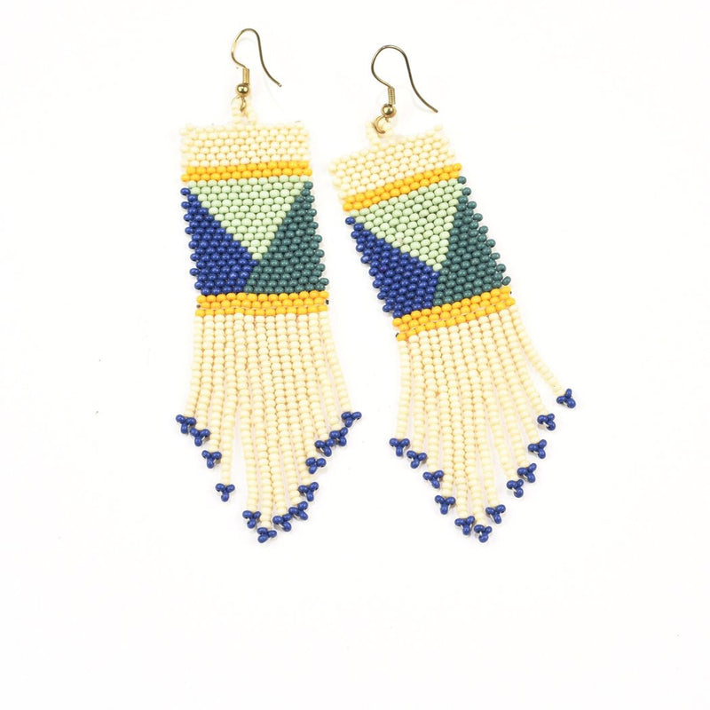 Ivory, Blue & Green Geo Pattern Seed Bead Earrings