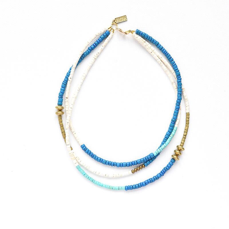 Azure Turquoise, Mustard + White Triple Strand Necklace