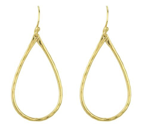Hammered Open Tear Earrings - Gold