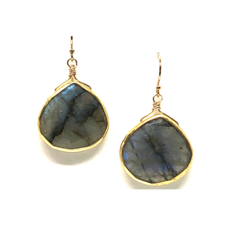 Large Heart Shaped Bezel Earrings - Labradorite