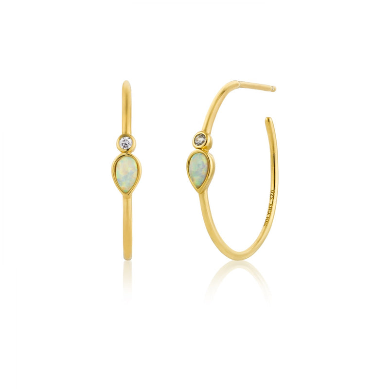 Opal Color Raindrop Gold Hoop Earrings