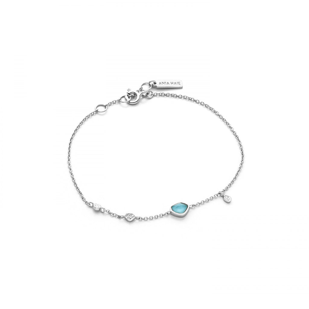 Turquoise Disc Silver Bracelet