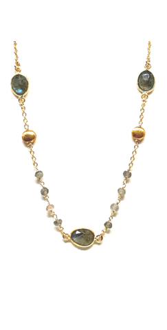 Labradorite and Gold Coin Adorned Necklace