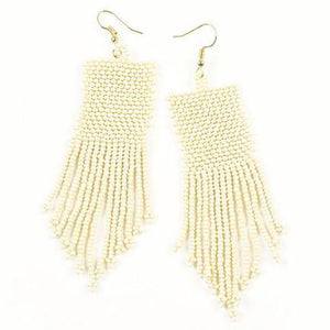 Ivory Seed Bead Solid Earrings
