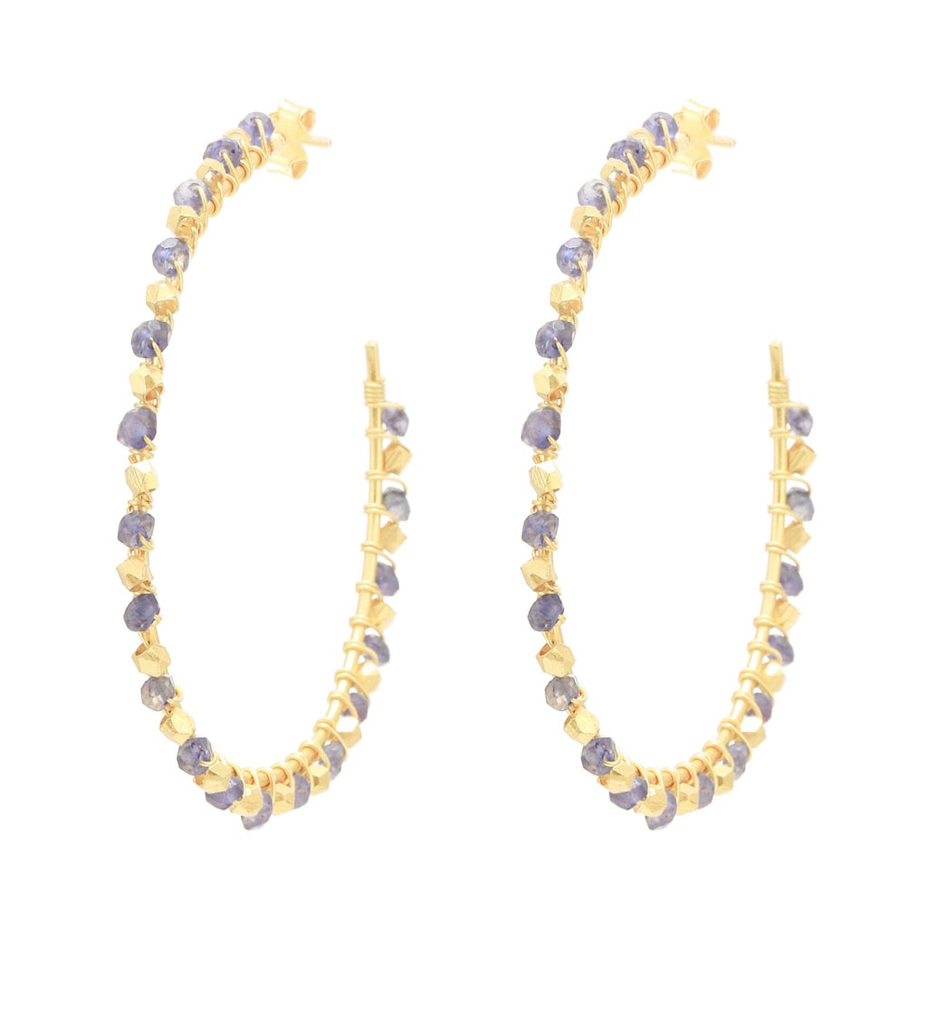 Statement Iolite Gemstone Gold Hoops
