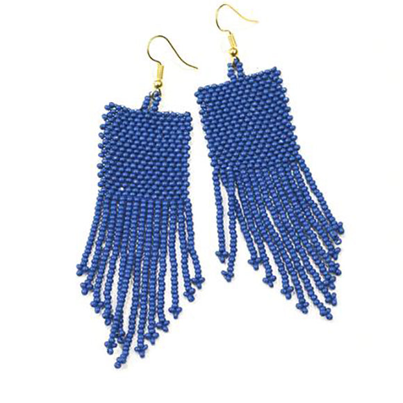 Lapis Seed Bead Solid Earrings