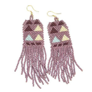 Lilac, Ivory & Light Blue Triangle Seed Bead Earrings