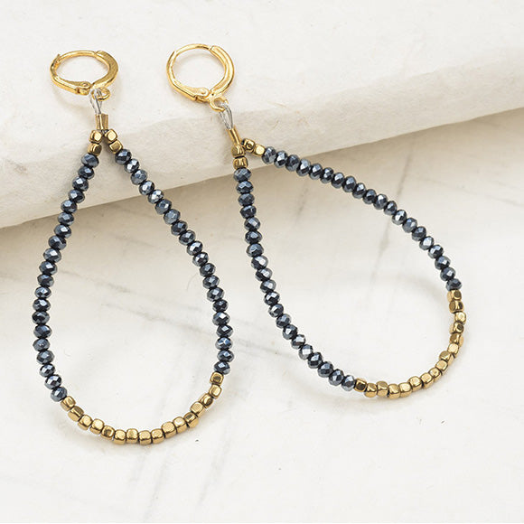 Hematite and Metallic Blue Crystal Loop Earring