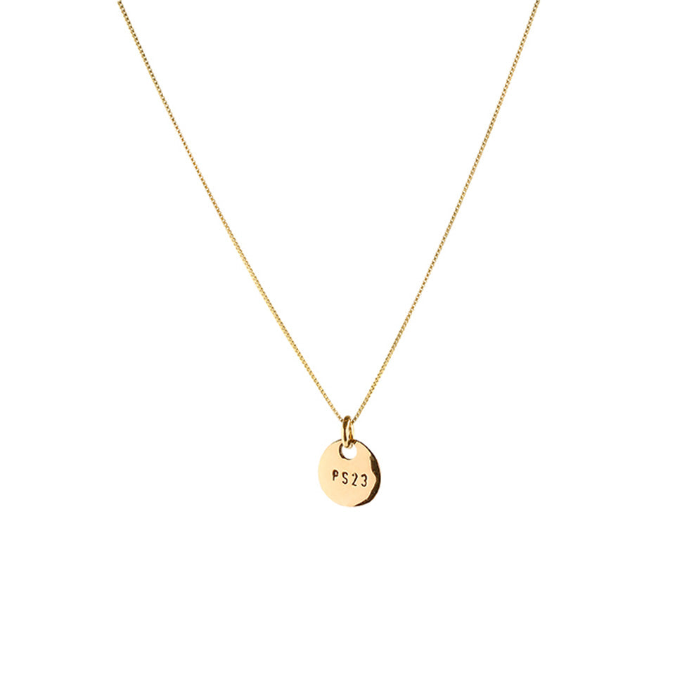 PS23 Golden Bronze Small Coin Necklace Short Chain