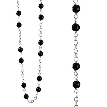 KumKum Women's Necklace in Sterling Silver with Cabochon Black Onyx. Length comes in 60cm and 90cm.