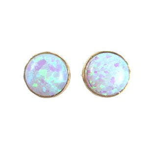 Opal Large Stud Silver Earrings