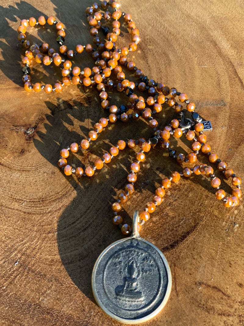 Buddha Orange Crystal Necklace