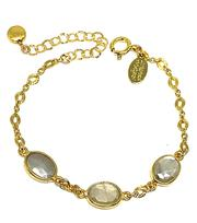 Bezel Set Moonstone Gold Bracelet