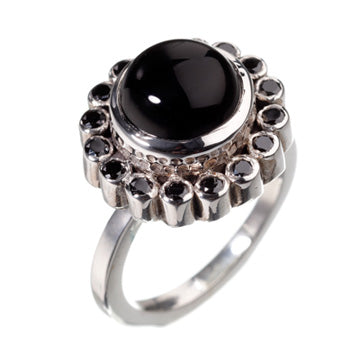 Paradise Black Silver Ring