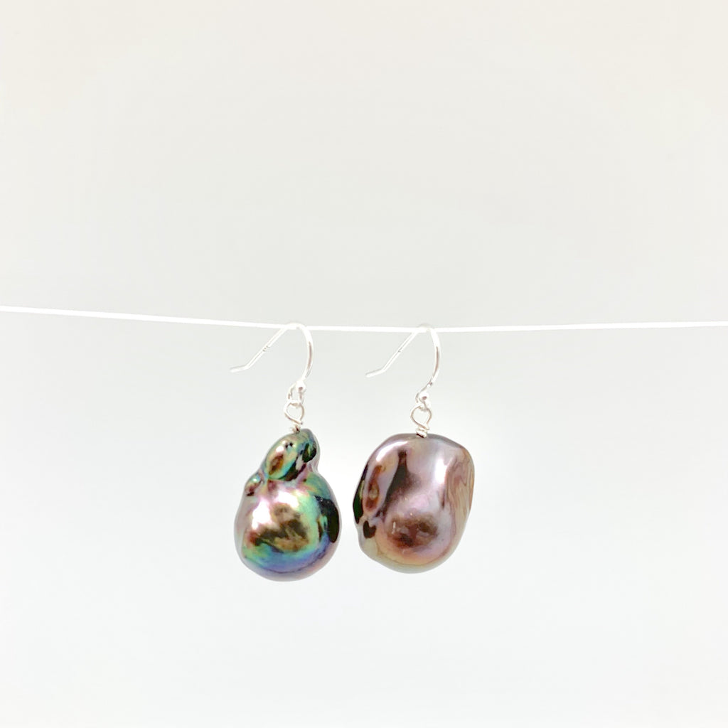 Baroque Pearl Earrings - Silver/Peacock