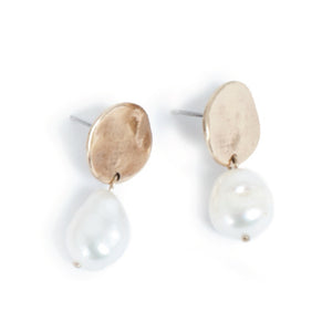 Coin Bronze  Earrings with Baroque Pearl