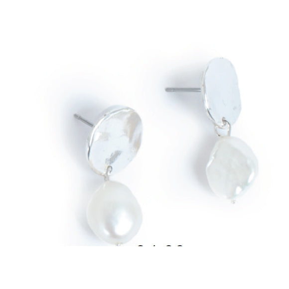 Coin Silver Earrings with Baroque Pearl