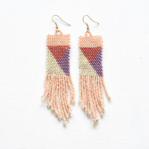Pink Ivory and Lilac Terra cotta Geo Seed Bead Fringe Earrings