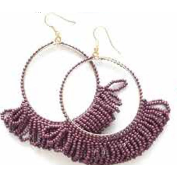 Seed Bead Earring Hoop with Fringe, Port